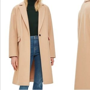 Lily Knit Back Midi Coat in camel by Topshop